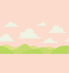 Soft nature landscape with pink sky green hills vector