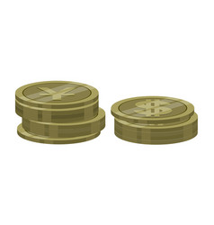 stack of dollar and yen coins vector image