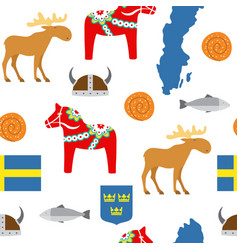 Sweden symbols seamless pattern vector