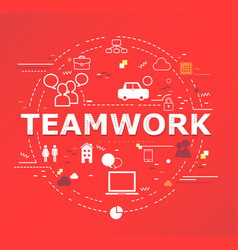 teamwork word lettering vector image