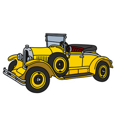 The vintage yellow roadster vector