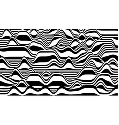 Trendy 3d zebra black and white stripes distorted vector