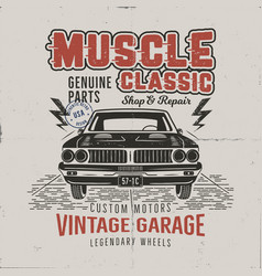 vintage hand drawn muscle car t shirt design vector image