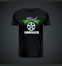 Vintage t-shirt template with wheel service vector