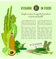 Vitamin k in food vector