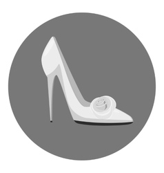 White shoe of the bride icon gray monochrome style vector