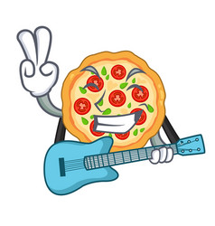 with guitar margherita pizza isolated with the vector image
