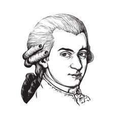 Wolfgang amadeus mozart portrait vector
