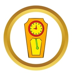 Yellow grandfather clock icon vector