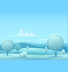 cartoon snowy winter game style landscape vector image vector image