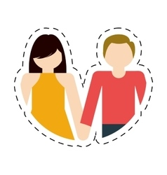 couple together romantic love cut line vector image