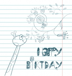 inscription happy birthday with giraffe vector image vector image