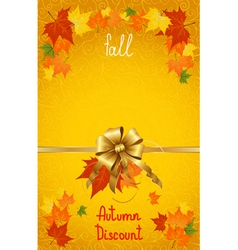 Autumn fall discount on yellow vector image