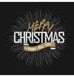 Christmas greeting on hand drawn background Retro vector image vector image