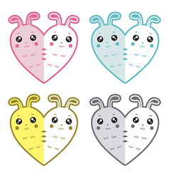 Cute rabbits-hearts vector image vector image