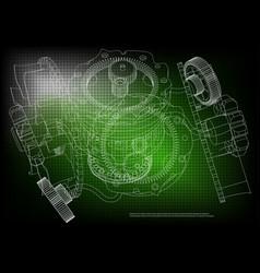 gear mechanism on green vector image vector image