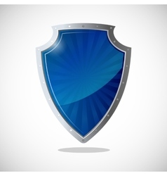 Glossy shield protection icon in blue and silver vector image vector image