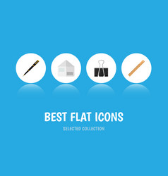 Icon flat equipment set of paper clip nib pen vector