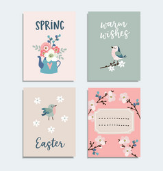 set of cute spring easter greeting cards vector image