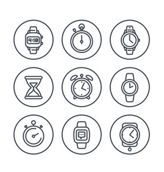 watches line icons on white vector image vector image