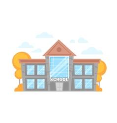 Flat cartoon school building vector