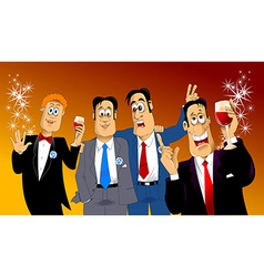 four friends at a party vector image vector image