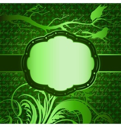 Green luxury background with tree branch and birds vector image vector image