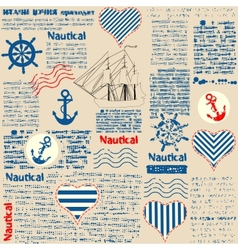 Imitation of newspaper in nautical style with vector image vector image