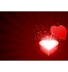 open red gift present as heart with fly hearts vector image