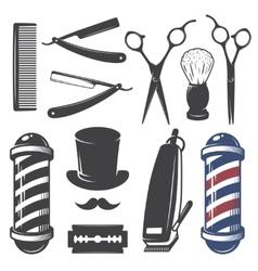 Set of vintage barber shop elements vector