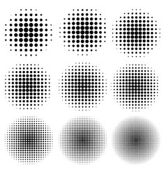 set the circle effect halftone dot pattern vector image vector image