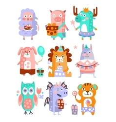 Stylized Funky Animals Birthday Party Sticker Set vector image