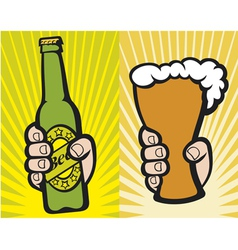 hand holding a glass of beer and green beer bottle vector image vector image