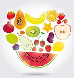 Healthy lifestyle heart made of Set of fruits on vector image