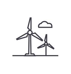 wind turbine line icon sign vector image