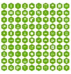 100 dispatcher icons hexagon green vector