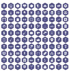 100 events icons hexagon purple vector