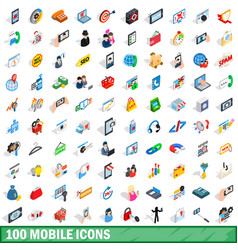 100 mobile icons set isometric 3d style vector