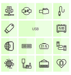 14 usb icons vector image