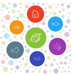 7 aquatic icons vector