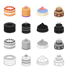 a festive cake and other types of dessert cake vector image
