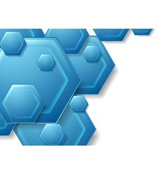 Abstract blue tech hexagons background vector