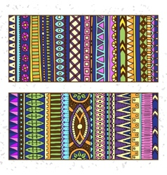 Abstract Ethnic Pattern Cards On Wood Background vector image