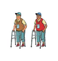 african and caucasian elderly with walker vector image vector image