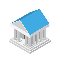 Ancient white bank building icon isometric style vector