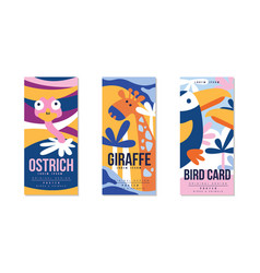 animals and birds colorful posters set ostrich vector image