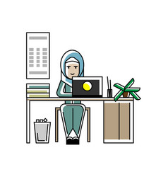 arabic secretary working at laptop in office vector image