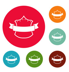 Badge king icons circle set vector