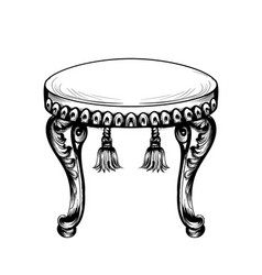 baroque puff chair furniture intricate vector image