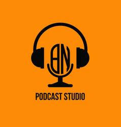 Bn monogram headphone and microphone style vector